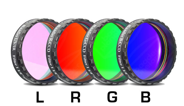 "Baader Planetarium Baader RGB Filter Set 1 1/4"" with UV/IR Cut L-Filter (Optically Polished)"