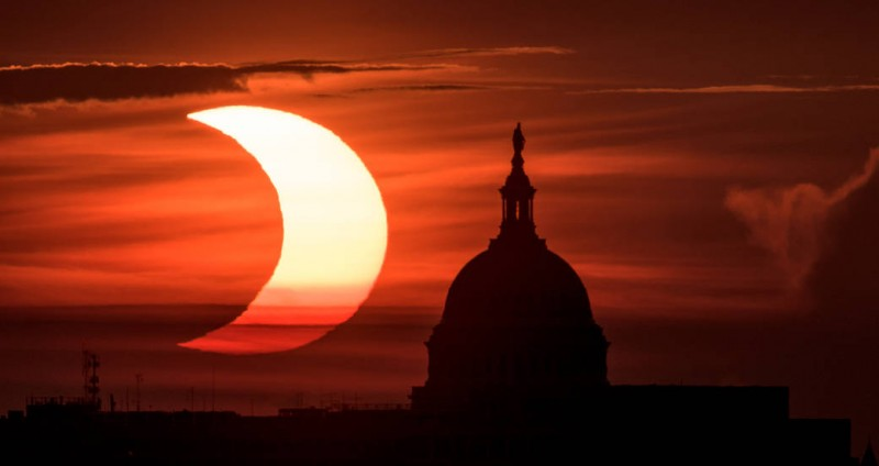 Partial Solar Eclipse over the U.S. Capitol