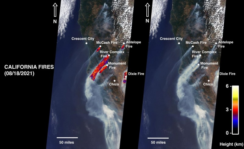 NASA's MISR Instrument Sees California Wildfire Smoke Plumes From Space