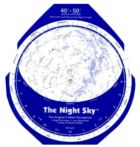 David Chandler & Co. The Night Sky Planisphere - Large 40°N-50°N