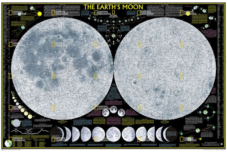 National Geographic Earth's Moon Reference Map (Laminated)