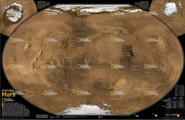 National Geographic Mars, The Red Planet Reference Map (Laminated)