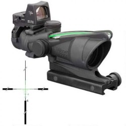 Trijicon 4x32 ACOG Riflescope, Dual Illuminated Green Crosshair .223 Reticle w/ Colt Knob Thumbscrew Mount & LED 3.25 MOA Red Dot RMR Type 2, Black, 100552